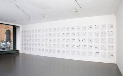 Kathy Slade, Chart, 2006, embroidery on canvas, 105 canvases 15 x 14 inches each, overall dimensions variable