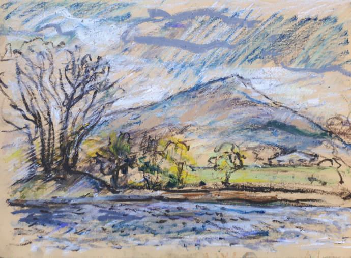 Sean Fingleton  Sean Fingleton, The Mountain from the Village Clonmany, 2018, oil pastel, 29 x 39cm