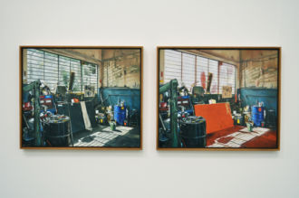 Workshop with Motor Tester,  Oil on linen, 127 x 50cm (diptych) 2012