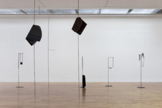 Exhibition view (Posts, series) 2019 Steel, wood, glass, Dimensions variable