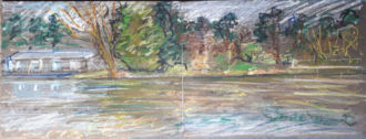 Liffey, near Islandbridge, Spring 2020, oil pastel on paper, diptych, each 30.5 cm x 40.6 cm