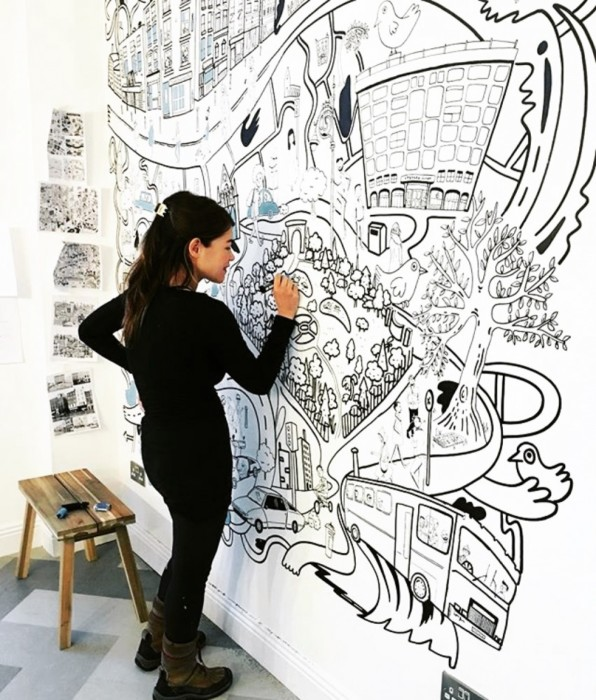 Making Connections Summer School: BIG COLOURING-IN WALL by Holly Pereira  Image: Holly Pereira 2019