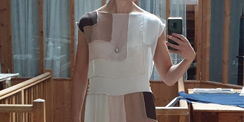Lucy McKenzie Tour Donas  Lucy McKenzie, Replica of Madeleine Vionnet's L'Orage, 1922, 2020. Silk and gold braid. Courtesy the artist.