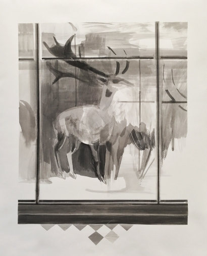 Mairead O'hEocha in conversation with Michael Hill  Mairead O'hEocha, Sika Deer, 2020, Ink on fabriano, 89 x 72 cm. Courtesy the artist and mother's tankstation, Dublin | London
