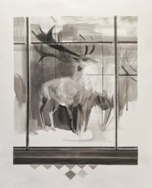 Mairead O'hEocha, Sika Deer, 2020, Ink on fabriano, 89 x 72 cm. Courtesy the artist and mother's tankstation, Dublin | London