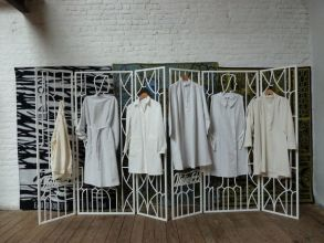 Lucy McKenzie, Atelier EB screen and work coats. Courtesy the artist.