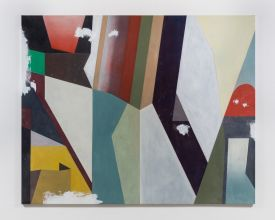 Lucy McKenzie, Damaged Abstract, 2017, Oil on canvas, Courtesy of Cabinet Gallery, London
