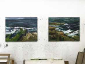 Painting by Sean Fingleton in his studio at Temple Bar Gallery + Studios