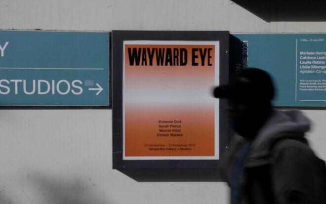 Wayward Eye, Temple Bar Gallery + Studios, October 2021. Poster designed by Alex Synge. Still from video by Jenny Brady.