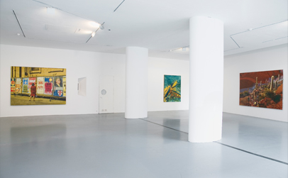 Left to Right:  'The Party', 2010, Oil on linen, 180 x 245 cm , 'Carbon Rising', 2010, Oil on linen, 170 x 130 cm and 'Heaven's Gate', 2010, Oil on linen, 180 x 250 cm