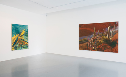 Left to Right:  'Carbon Rising', 2010, Oil on linen, 170 x 130 cm and 'Heaven's Gate', 2010, Oil on linen, 180 x 250 cm