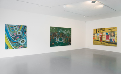 Left to Right: 'Financial and Social', 2010,Oil on linen 170 x 140 cm, 'Leaders and Followers', 2010, Oil on linen, 180 x 250 cm and 'The Party', 2010, Oil on linen, 180 x 245 cm