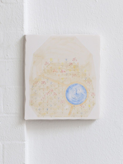 Open Call: Helsinki-Dublin Residency Exchange 2020  Annaliisa Krage, Paulas Garten, 2019, Pencil, tempera and oil on plaster, 22 x 20 cm. Courtesy the artist.